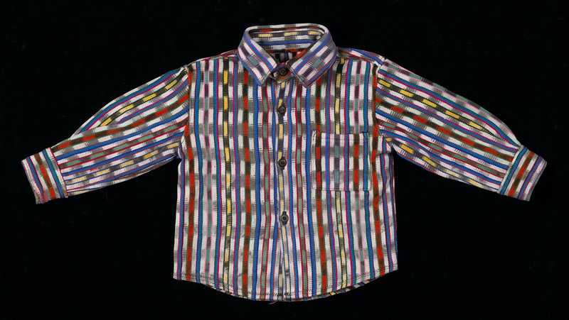 Belongs with 2002.280.52 and 53 as a costume. Multi-colored ikat in green, blue, orange, yellow, pink, white and black