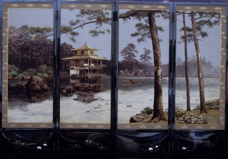 Embroidered scene of the Golden Pavilion on one side and scene of Mount Fuji painted on silk on the other, black lacquer frame