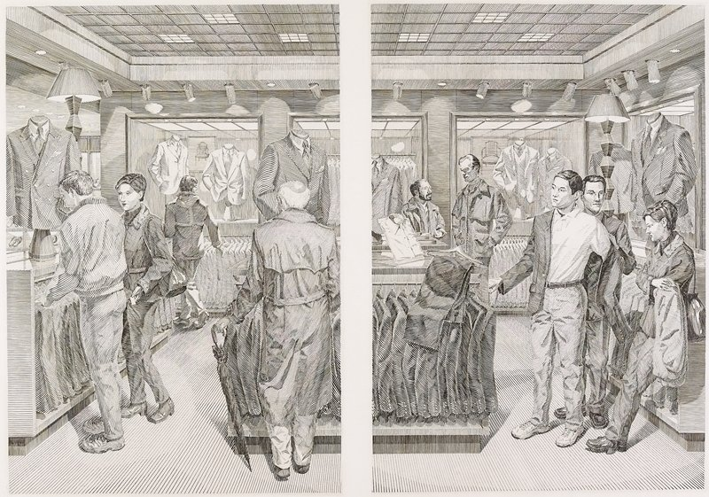 2 images on one sheet; Scene 1 illustrates a couple at left looking at suits hanging on a low rack; back of man wearing a trenchcoat and holding a folded umbrella at right; another figure in back, center; Scene 2 illustrates the couple at right, with the woman leaning against a store fixture and the man putting on a suit jacket, assisted by another man; 2 other men in back at left