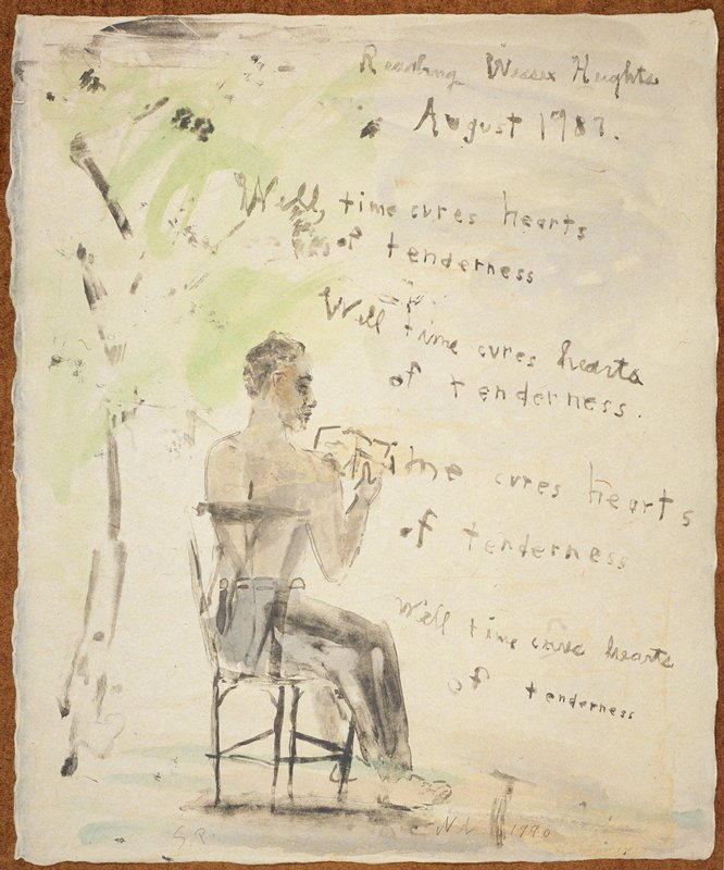 """Man seated in a chair with his back to the viewer; he reads from a paper in his lap; citations from the poem 'Wessex Heights' are displayed in front of him like a muse or thought bubble; a tree with bright green leaves behind him; the words """"Reading Wessex Heights/August 1987"""" inscribed, UC; predominant colors: blue, grey and green"""