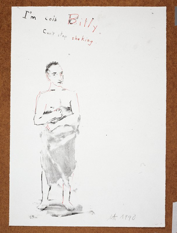 """Nude man covered from the waist down in a towel; he faces forward in the direction of the viewer; the words """"I'm Cold Billy/Can't Stop Shaking"""" inscribed, UC"""
