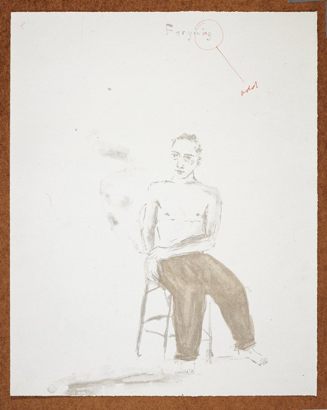 """Full length view of a man naked from the waist up; he faces forward in a chair with a lit cigarette in his PL hand; his legs turned slightly to the viewer's R; the words """"Forgiving"""" inscribed, UC"""