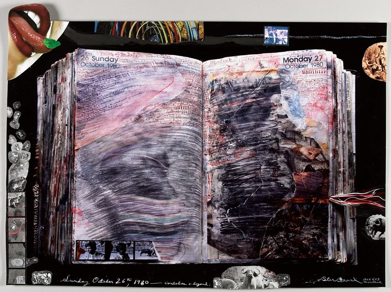 open book at center with majority of text smeared or scribbled out; images collaged around outside edges; magazine clipping of woman's mouth at TL extending off of sheet; red and white pigment throughout