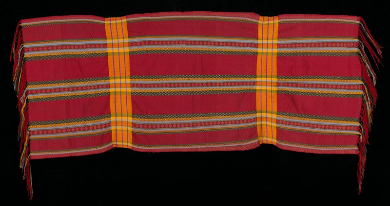 Red background, stripes, both vertical and horizontal; green, yellow, purple, blue with motifs.