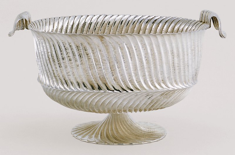 footed bowl with striated body; handles