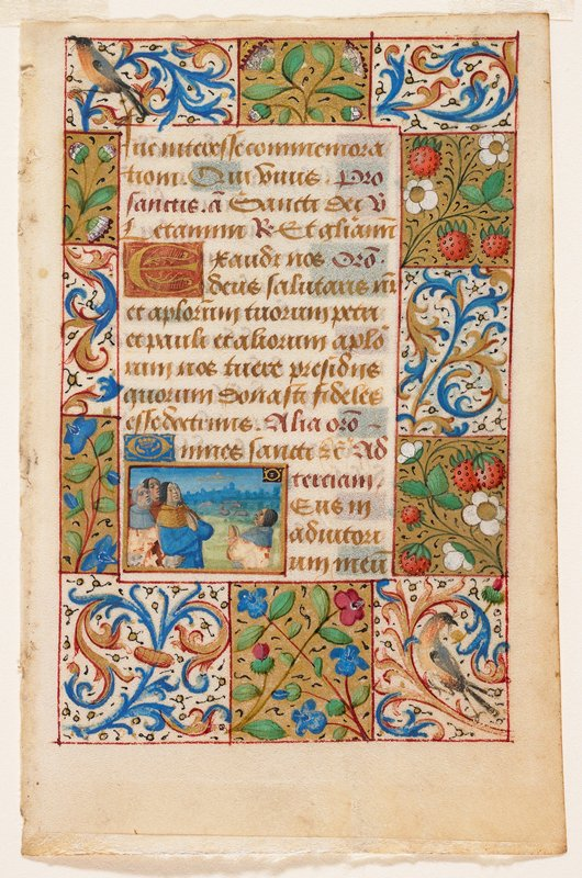 Double-sided; hand-illuminated with partially gilded backgrounds, a very small miniature, and borders with flowers, strawberries, and birds. Illumination depicts the vision to the shepherds, surrounded by various plants and birds.