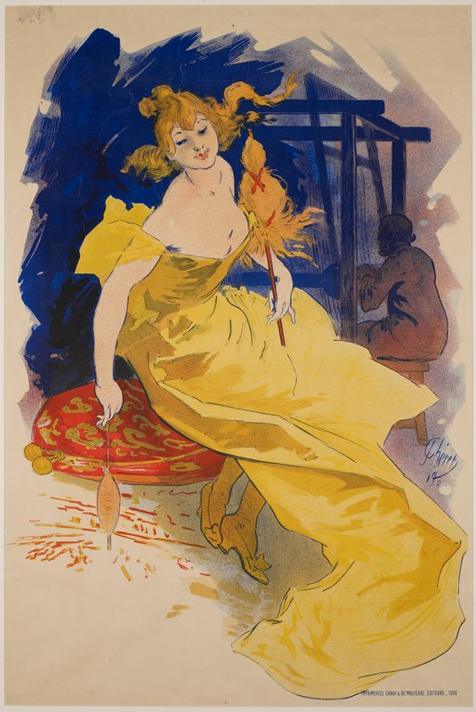 seated woman in a yellow dress; man in background weaving at a loom (?)