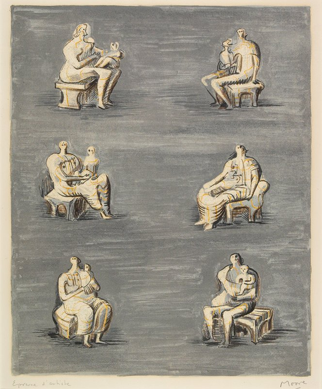 six abstract studies of seated figures, all holding children except one; grey ground