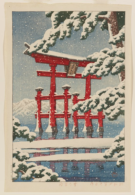large red torri gate in water; falling snow with snow on pine tree at R and on mountains in background