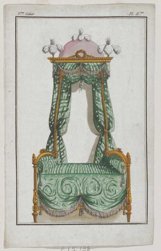 Canopy bed with gold frame upholstered in green fabric with a pink dome-like structure with white plumes at the top