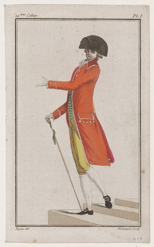 Man in yellow breeches, green vest, orange coat, and black hat holding a walking cane