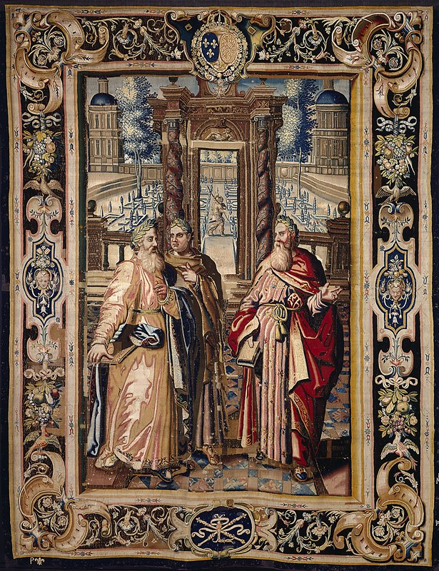 a piece from the cycle of ten tapestries woven for Marie de' Medici, The Stories of Queen Artemisia, based on an epic account by Nicolas Houel; woven in the Faubourg Saint-Marcel manufactory of Marc de Comans and Frauçois de las Planche; warp undyed wool, 7 ends per cm., weft dyed wool and silk, 24-36 ends per cm.