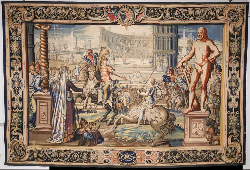"""a piece from the tapestry cycle woven for Marie De' Medici, The Stories of Queen Artemisia, based on an epic account by Nicolas Houel; woven in the Faubourg Saint-Marcel Manufactory of Marc de Comans and François de la Planche between 1611 and 1627; warp undyed wool, 7-8 three fourths ends per cm., weft dyed wool and silk, 28-40 ends per cm.Proper left H.158 in. (13' 2""""); center H.158-1/2 in. (13' 2-1/2""""); proper right H.157-3/4 in. (131' 1-3/4""""); bottom W. 237-1/2 (19'9-1/2""""); center W.235-1/2 in. (19'7-1/2""""); top W. 239 in. (19'11"""")."""