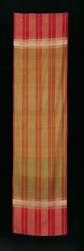 stripes, red and green; supplementary weft patterned band 10-14 inches from both ends; white archade with meandering pattern above with polychromed bands above and below
