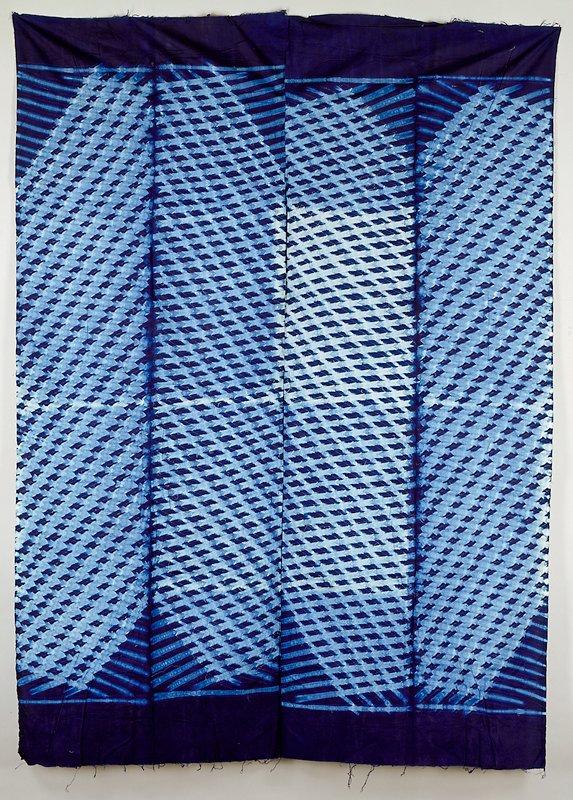 blue tie dyed plain weave cotton; adire cloth