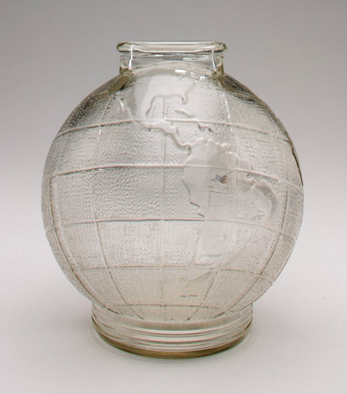 clear glass; spherical globe of the world with longitude and latitude lines; raised flat base; raised coin slot at top