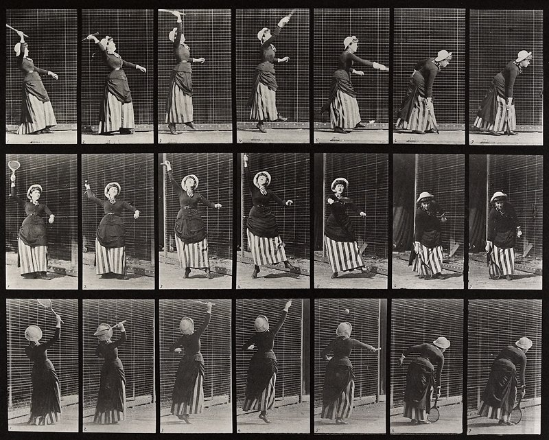 Lawn tennis, serving. From a portfolio of 83 collotypes, 1887, by Edweard Muybridge; part of 781 plates published under the auspices of the University of Pennsylvania