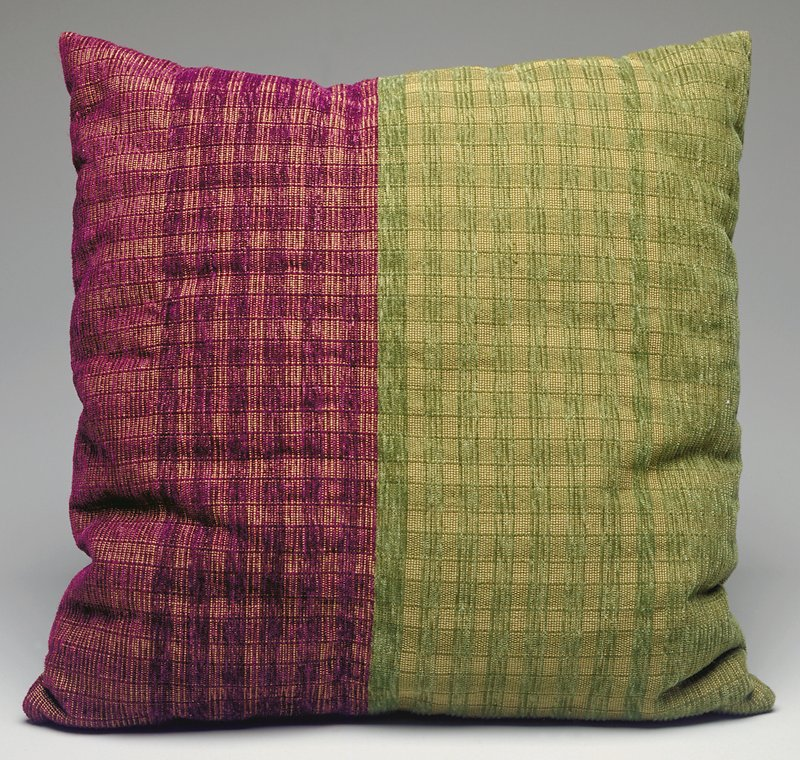 1/2 purple plaid and 1/2 green plaid against tan ground; chenille