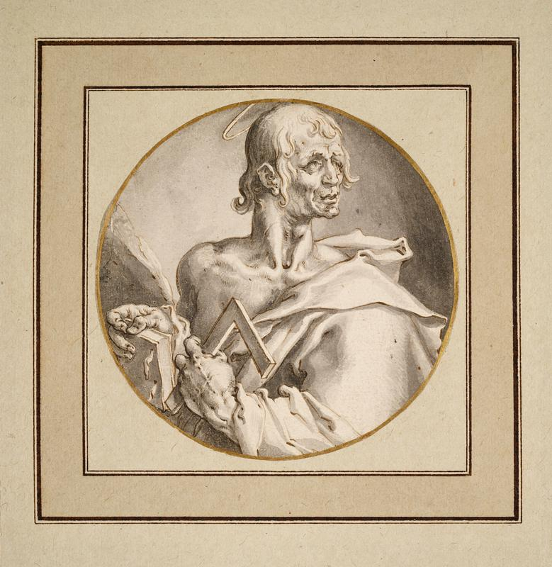 man with halo and drapery over one shoulder holding book and looking over his PL shoulder; drawing is the study for the engraving which is 67.46.3