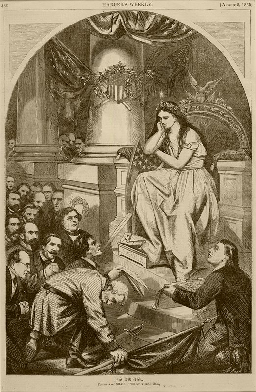 seated female figure wearing gown and acantus leaf crown, with a starred and striped shield and sword; crowd of kneeling, supplicating men at L, two holding documents