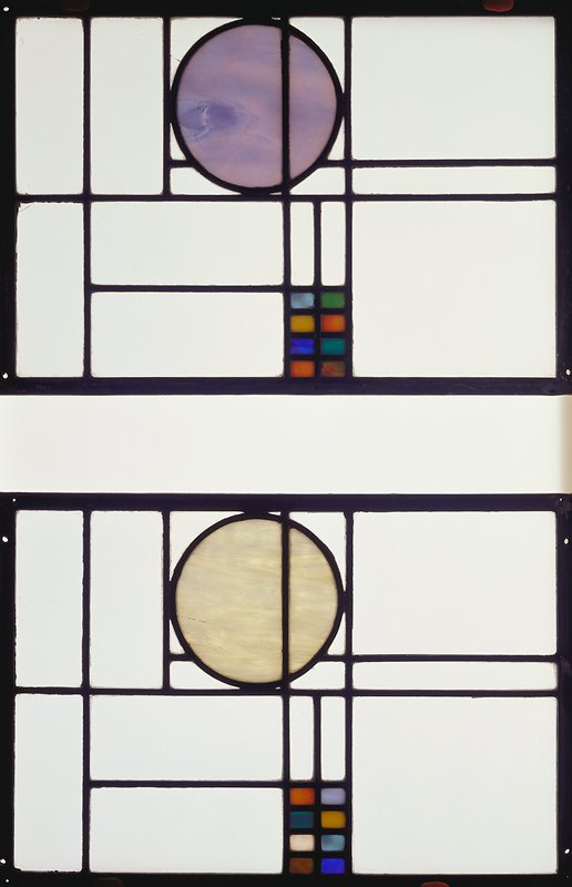 Clear rectangular panes with a blue circle at one long side and eight small colored rectangles (blues, orange, green, yellow and swirled green and pink) at opposite long side
