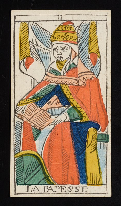 woman in tiered headdress and robe holding an open book in her lap; Roman numeral II printed on top border and LA PAPESSE printed on bottom; from a deck of 78 hand-colored triumph playing cards