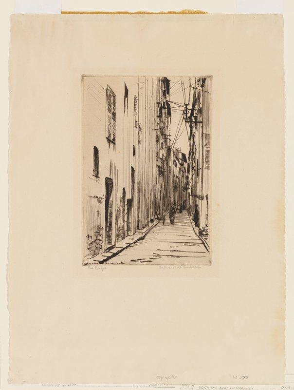 narrow street with pedestrian walking between tall buildings; sketchy style