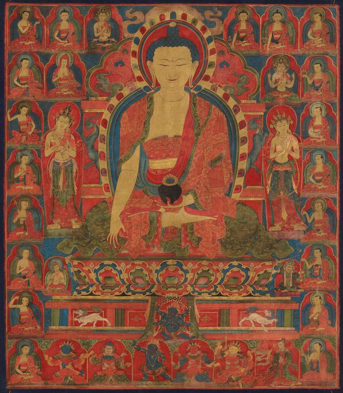 Shakyamuni seated on a throne, flanked by 2 Bodhisattvas and surrounded by 8 rows of seated deities and monks; red, gold, green and blue