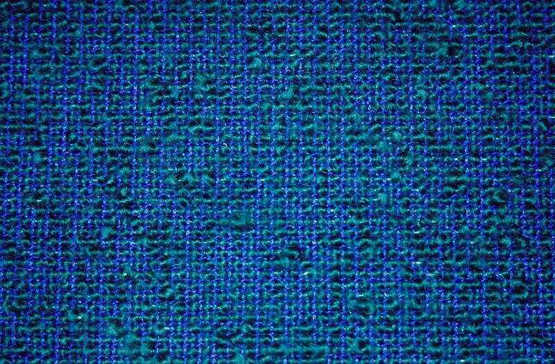 Variation on a plain weave:Blue warp and weft. Blue weft separated by thicker green weft threads. Variation on a plain weave:Blue warp and weft. Blue weft separated by thicker green weft threads. Pacific Blue
