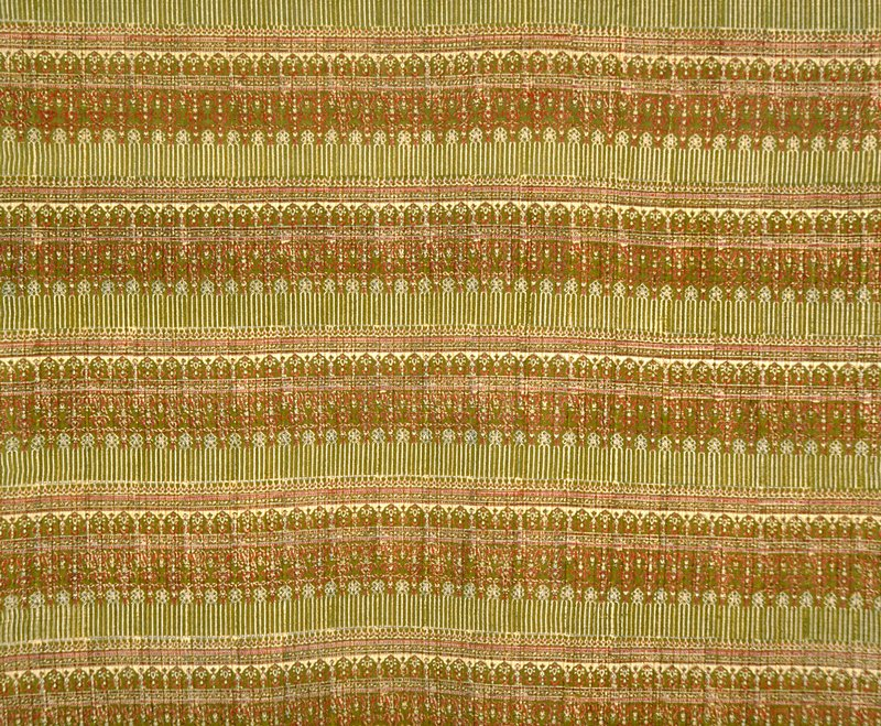 """Hand block printed.5"""" arches divided by stripes.7.5"""" vert. rpt., 1.25 horiz. rpt. Hand block printed.5"""" arches divided by stripes.7.5"""" vert. rpt., 1.25 horiz. rpt. (red/green)"""