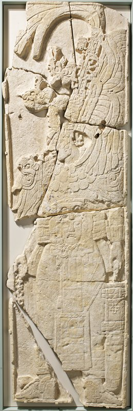 Stela II, priest in corn-planting ceremony. Face and wrist restored.
