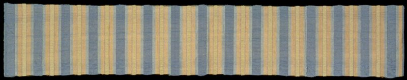 "Plain weave silk cloth with alternating 1/2"" and 1 1/4"" pale yellow stripes of puckered warp in between vertical pale orange stripes and thin green lines. Plain weave silk cloth with alternating pale yellow 1/2"" and blue 1 1/4"" stripes of puckered warp in between vertical yellow and light blue stripes and thin grey lines. Larkspur"