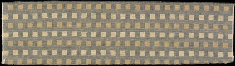 """Handwoven? plain weave natural linen cloth with discontinued silk supplementary weft. Supplementary weft forms pattern of alternating horizontal rows of light and dark tan colored 1"""" squares. Handwoven? plain weave natural linen cloth with discontinued silk supplementary weft. Supplementary weft forms pattern of alternating horizontal rows of light and dark tan colored 1"""" squares. Dawning"""
