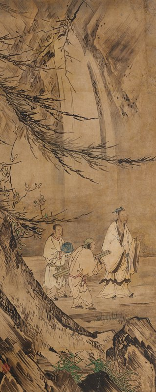 One of three panels mounted as a triptych of kakemono; ink and slight color on paper.