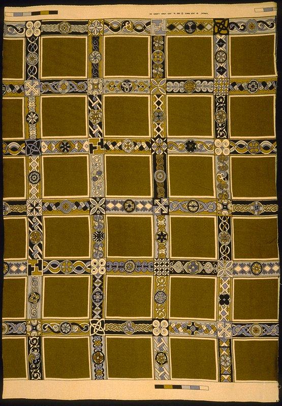 "Worsted satin print. Stacked 6"" x 5"" squares framed in 2.5"" border designs. 34"" vert. Rpt. Bronze, black, grey & gold. Bronze"