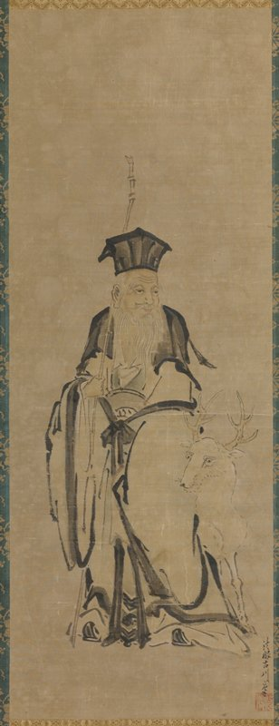 Central scroll of a triptych. Elderly man with long bamboo staff with white deer. Identifiable as Jurojin the god of longevity.