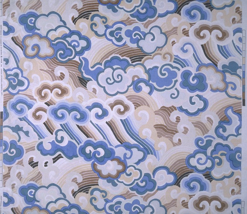 """China style clouds and waves. Vert rpt 32.75"""". Blue and brown on ivory. Print ends 3-5.5"""" from exposed lower edge. Mandarin Blue"""