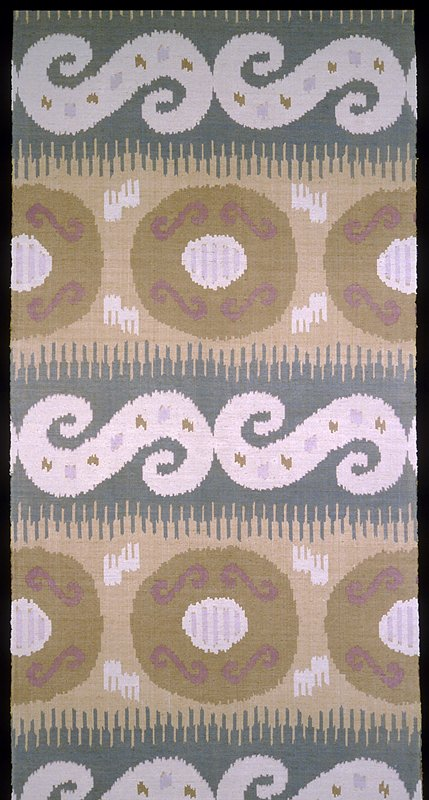 """Handwoven & handprinted with 16"""" pomegranite like designs separated by 19"""" """"Lazy S"""". Vert. rpt. 36""""; horiz. 18.75"""". green, brown & lilac. Quarrystone"""