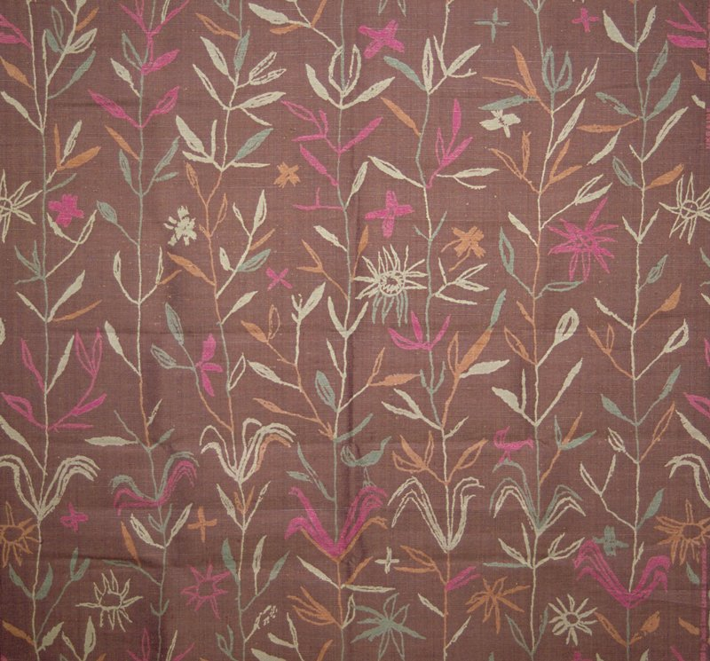 Handwoven warp faced plain weave silk cloth handprinted with bands of pastel leaves and flowers. Pattern resembles crayon drawing. Mauve, pink, aqua, tan. Columbine