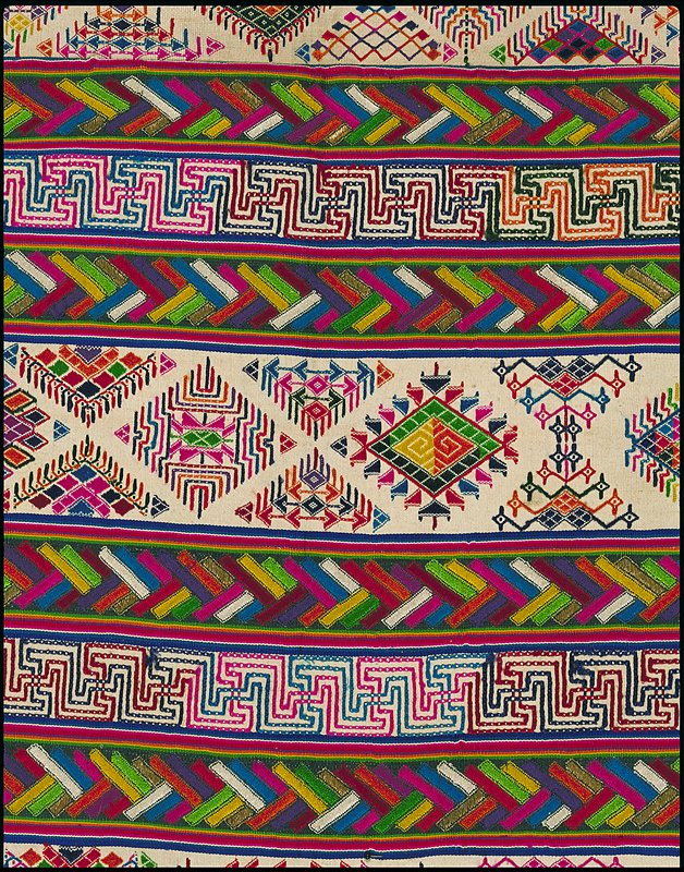 kira (woman's garment), three panel woven piece in striped sections with multicolored embroidery, silk, cotton, and metallic thread