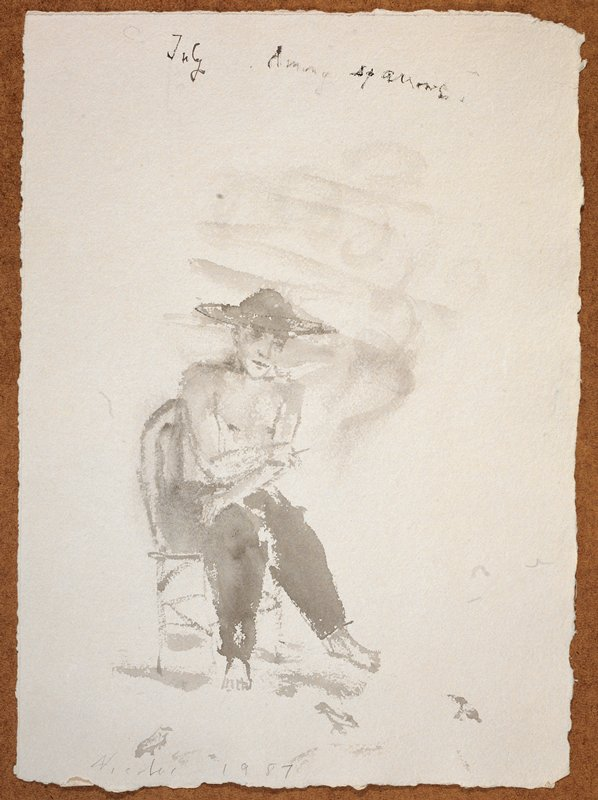"""Man in full view, wearing a wide rimmed hat and long pants; he faces forward in a chair; his body turned slightly PL; the words """"July Among Sparrows."""" scrawled in UR quadrant"""