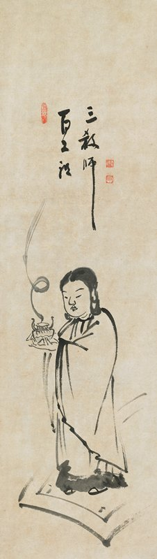 standing robed figure with dark hair, holding a smoking incense burner