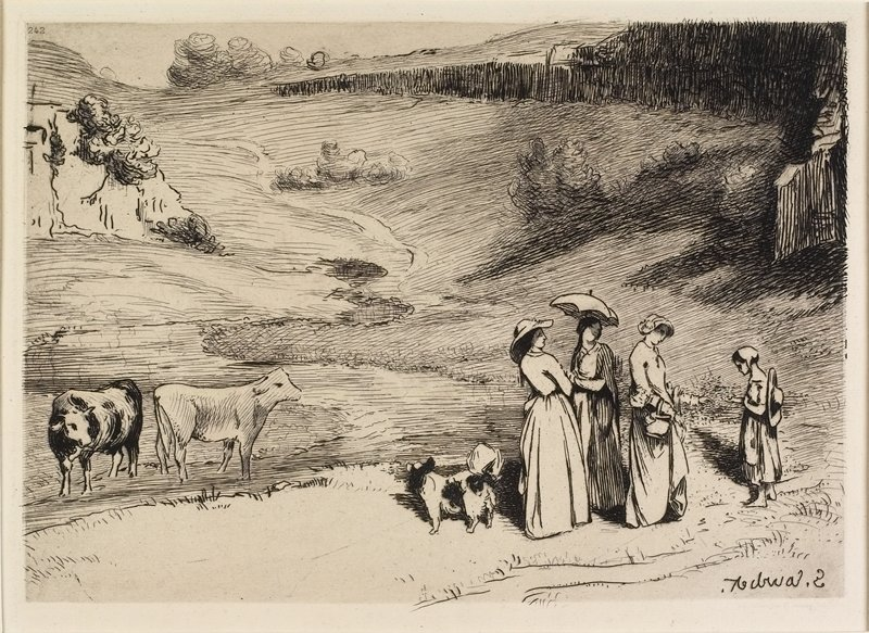 three standing woman and one little girl at R, accompanied by a spotted dog with a bushy tail; two cows at L; pasture land beyond