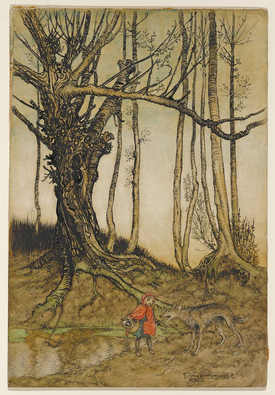 gnarled tree with girl wearing red cloak with wolf in LRC