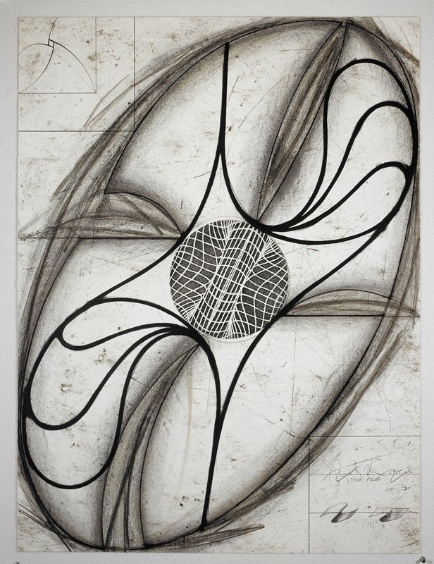 Sculptural abstraction featuring an elliptical object that fills most of the picture plane; a circle in its center consists of interweaving lines that appear to gravitate inward; heavy black lines around the object's center spiral outwards towards its border