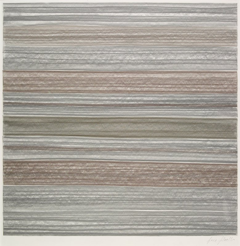 irregular horizontal bars of various greys and browns