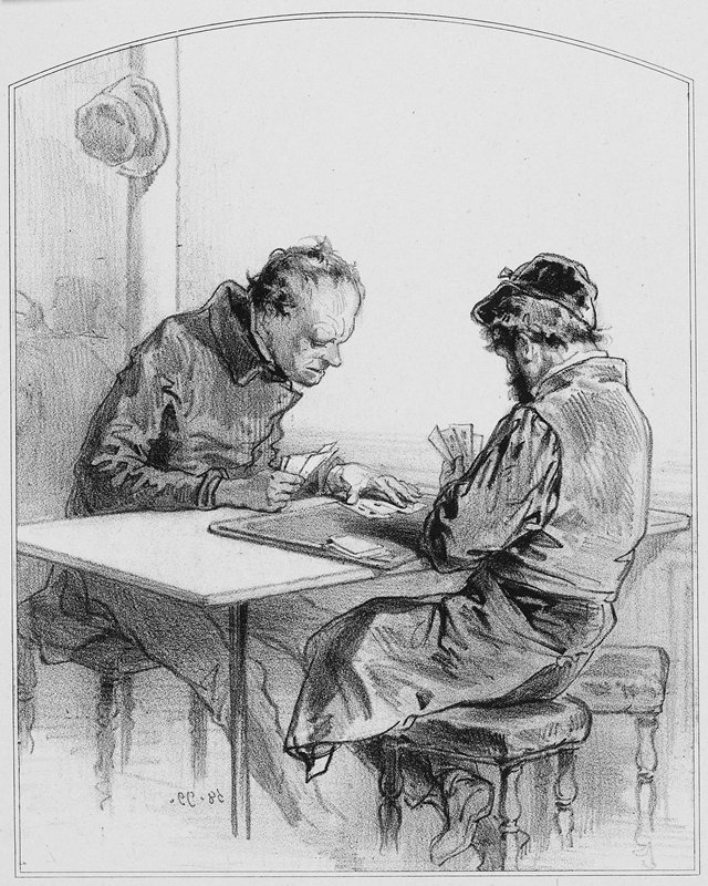 two men seated at a table, playing a card game on a tray; man at L examines cards under his PL hand; man at R wears apron and cap and has a beard