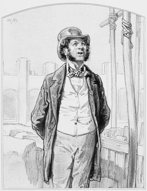 man with long sideburns, wearing a coat, vest, tie and top hat, looking up; wood structure at R