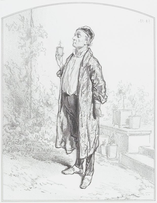 standing man wearing a long jacket and a cap, holding a small potted plant in his PR hand
