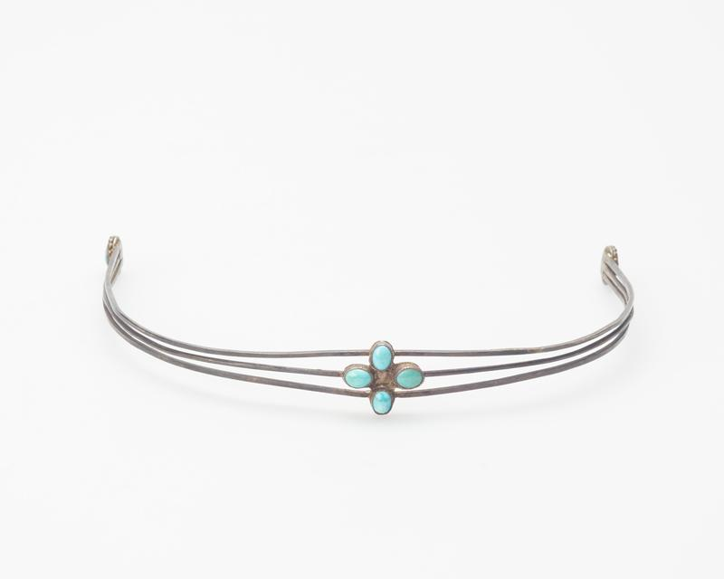 hairband; 3 silver wires with turquoise set in circle of silver drops at each end at 4 turquoise at center